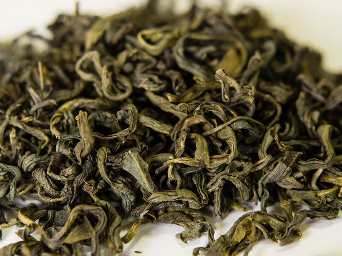 Green Tea Leaves From An